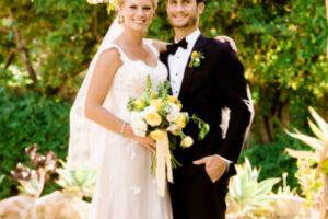 Wedding couple standing in garden in Atascadero, CA