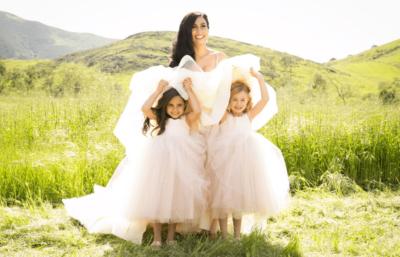 Bride with kids in the field in Goleta, CA